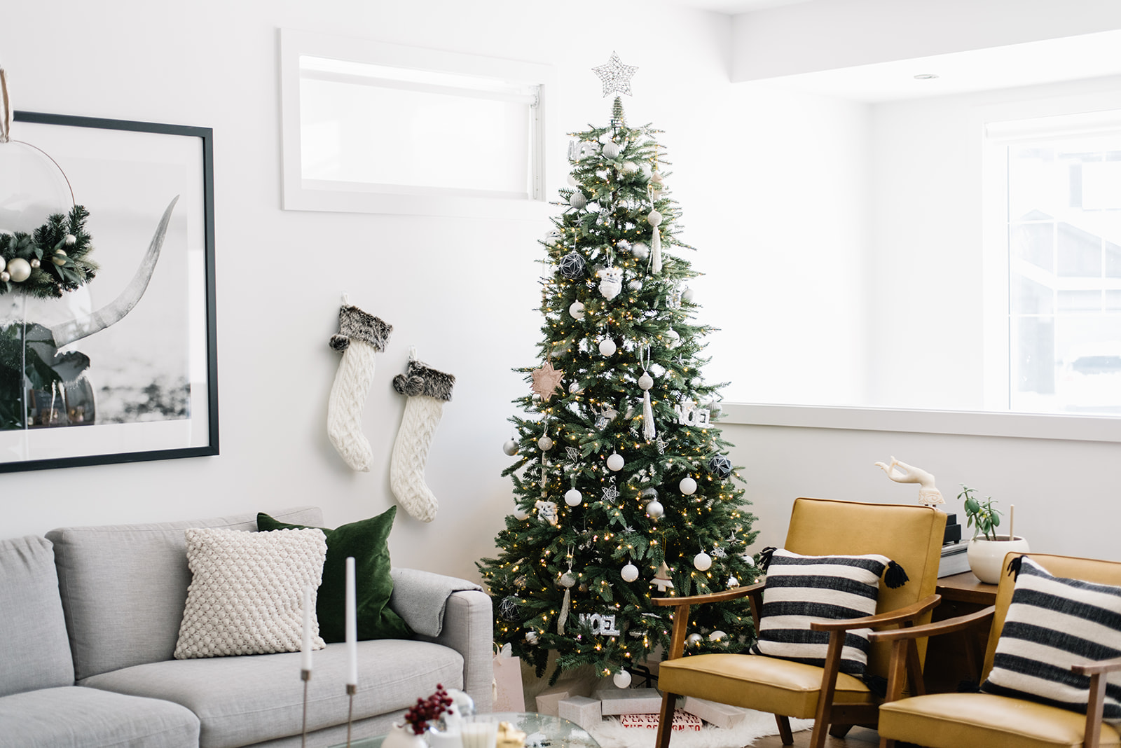 christmas tree with silver ornaments