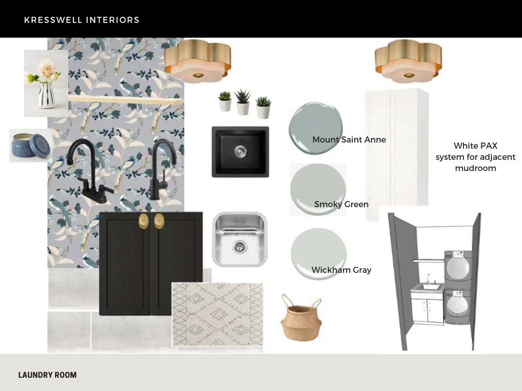laundry room design plan with wallpaper
