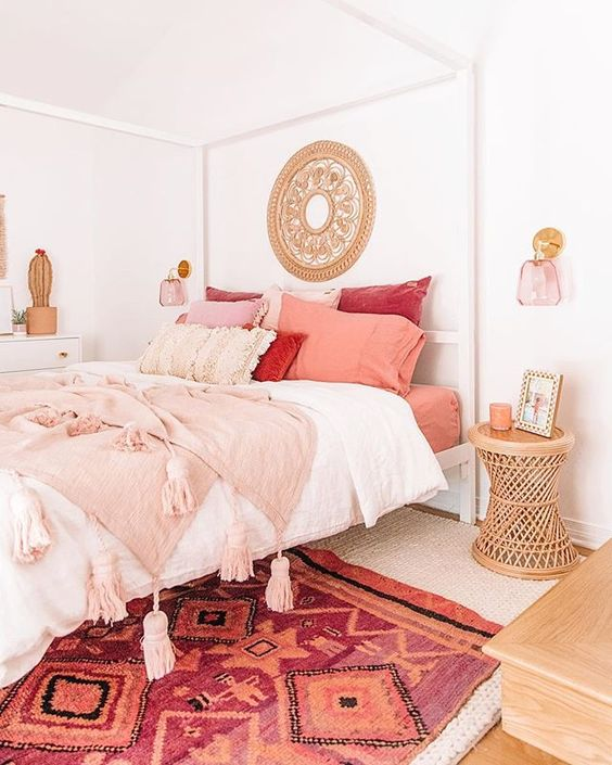 blush and coral bedroom