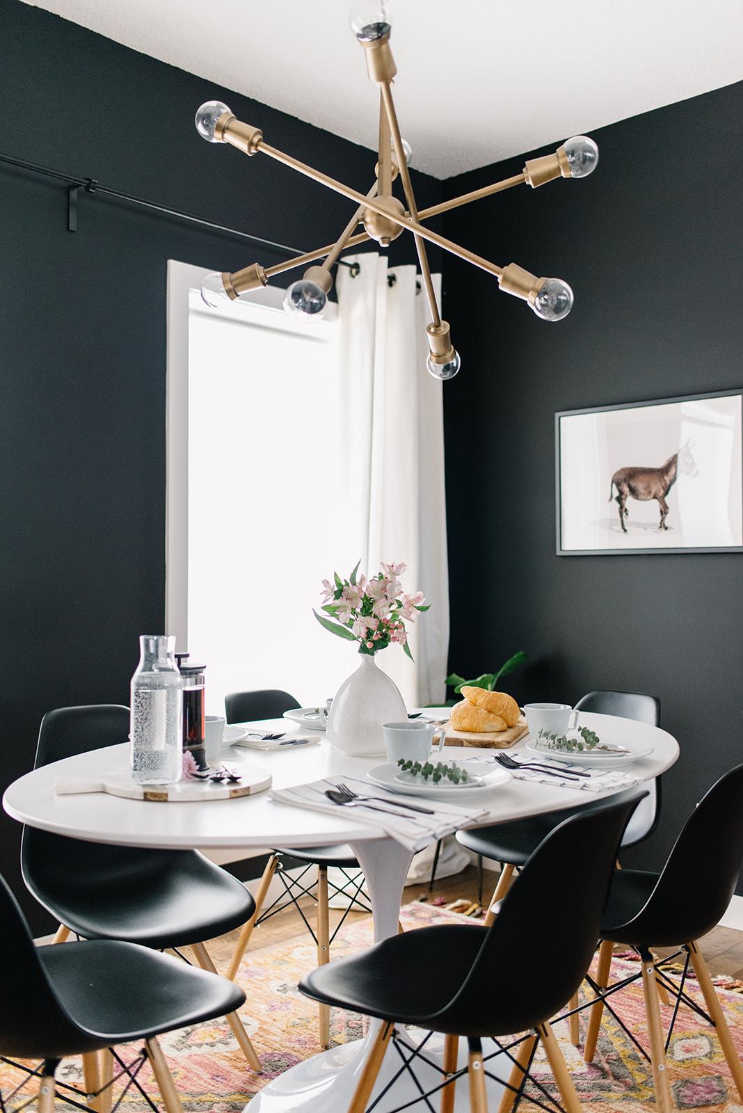 black dining room, modern, brunch tablescape