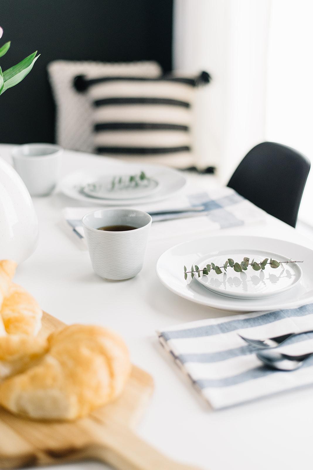 fresh eucalyptus on table setting