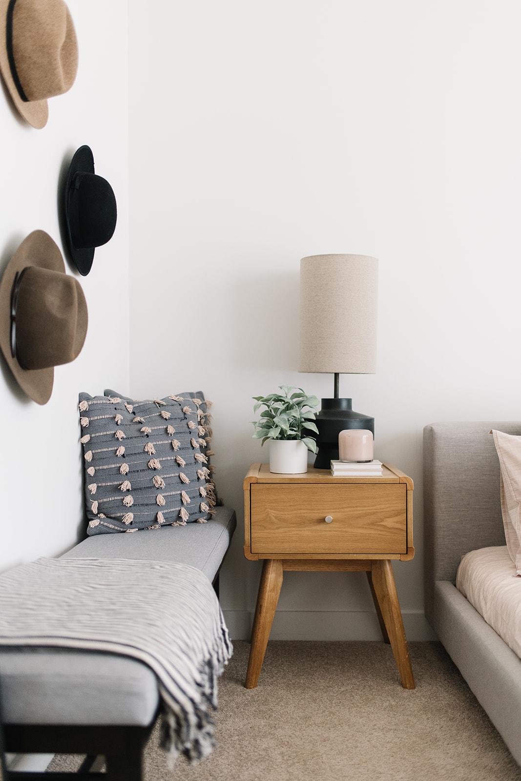 minimalist bedroom,  mid century modern bedroom