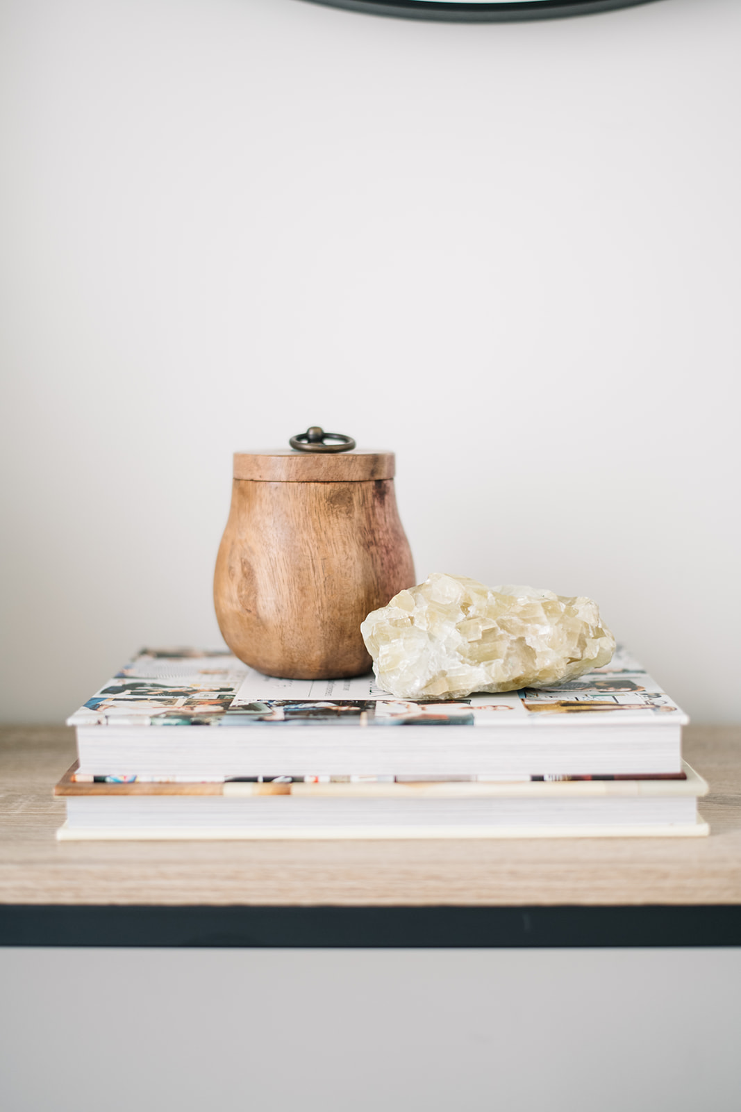 wooden candle, console styling