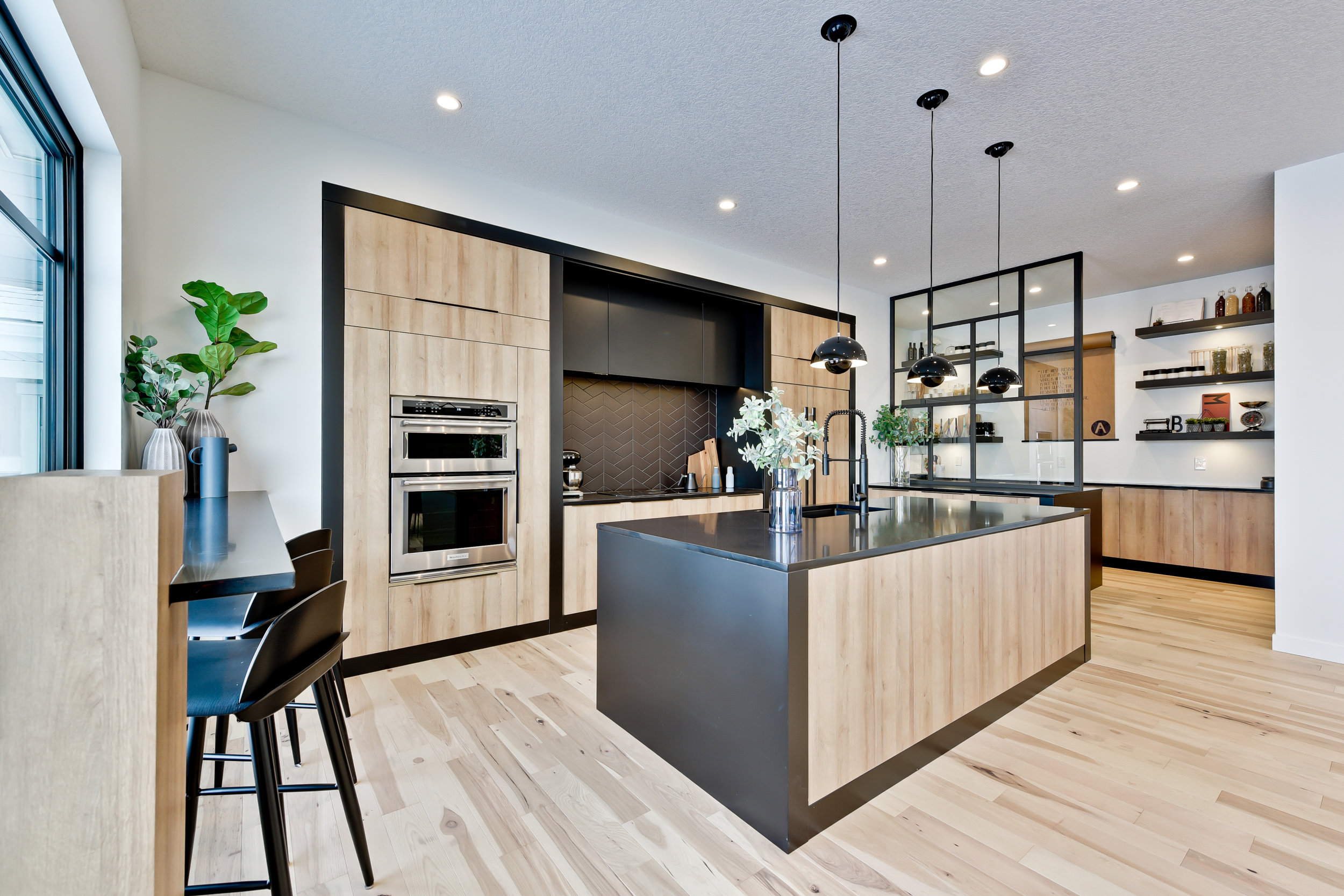 modern kitchen with black accents
