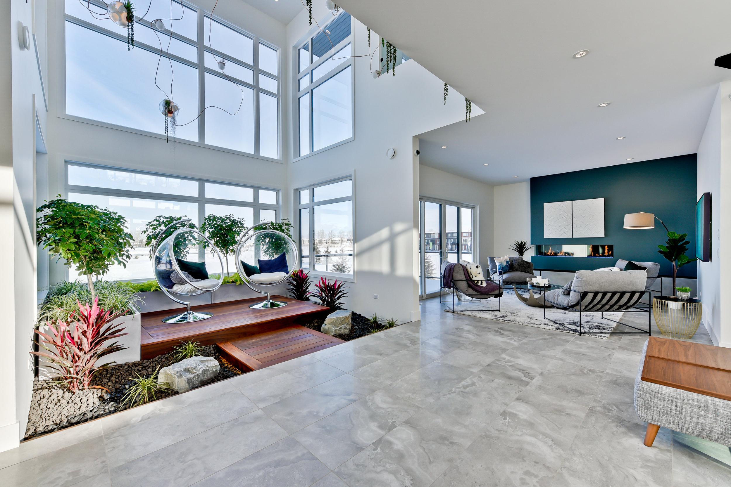 modern interior design, house with atrium