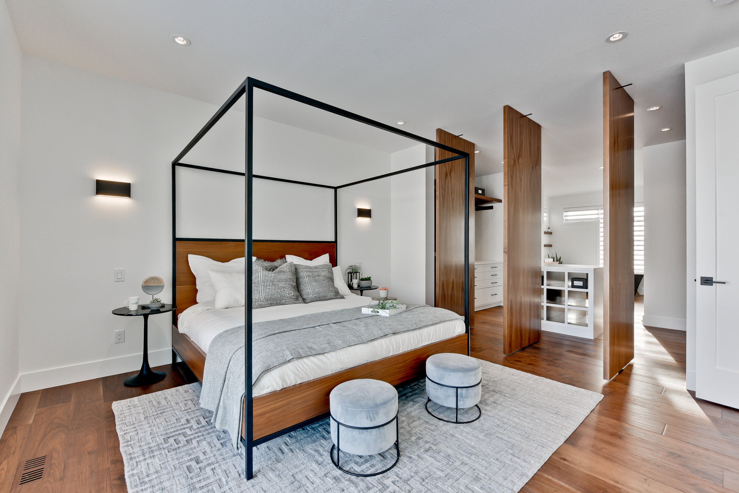 modern bedroom with canopy bed