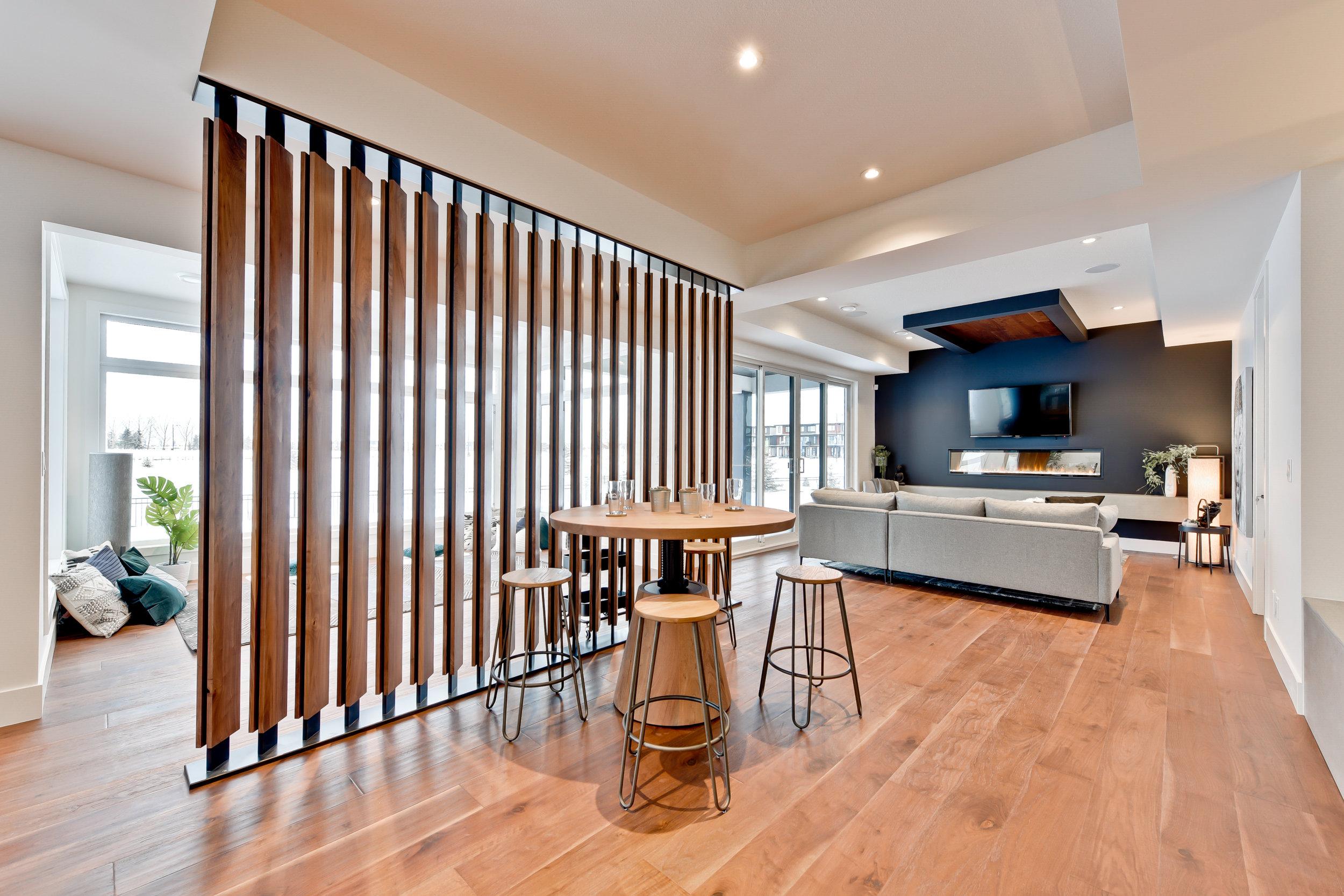 modern basement living room