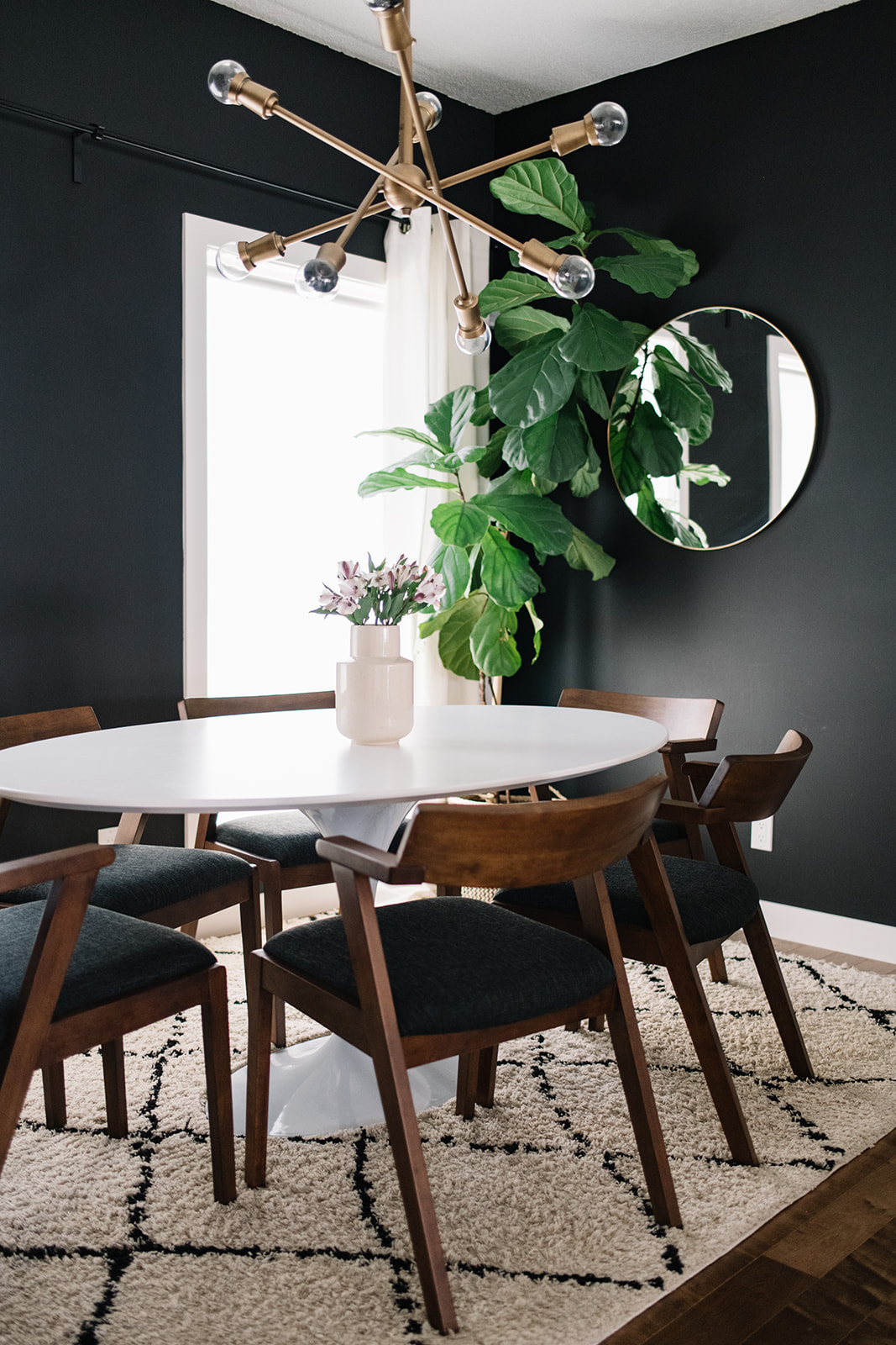 white dining table walnut chairs