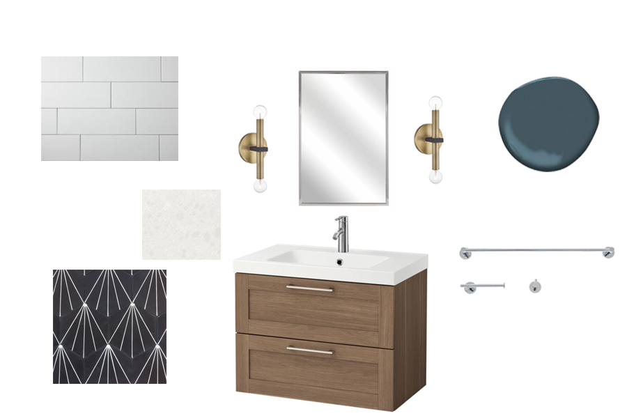 modern bathroom plan with encaustic tile
