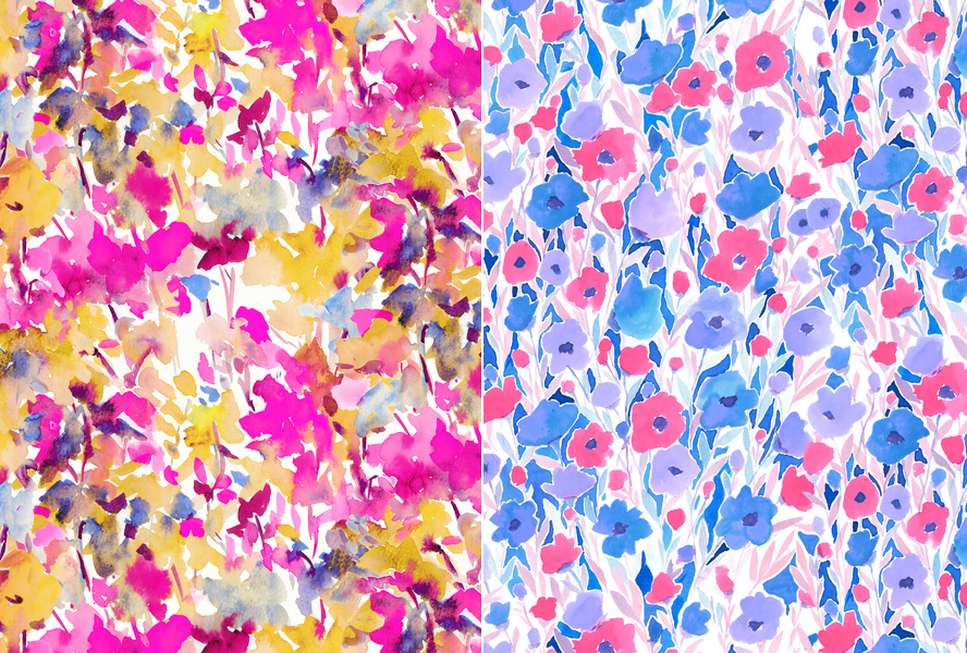 """ Local Color Yellow Pink "" & ""Flower Field Lilac Blue"" by Jacqueline Maldonado"