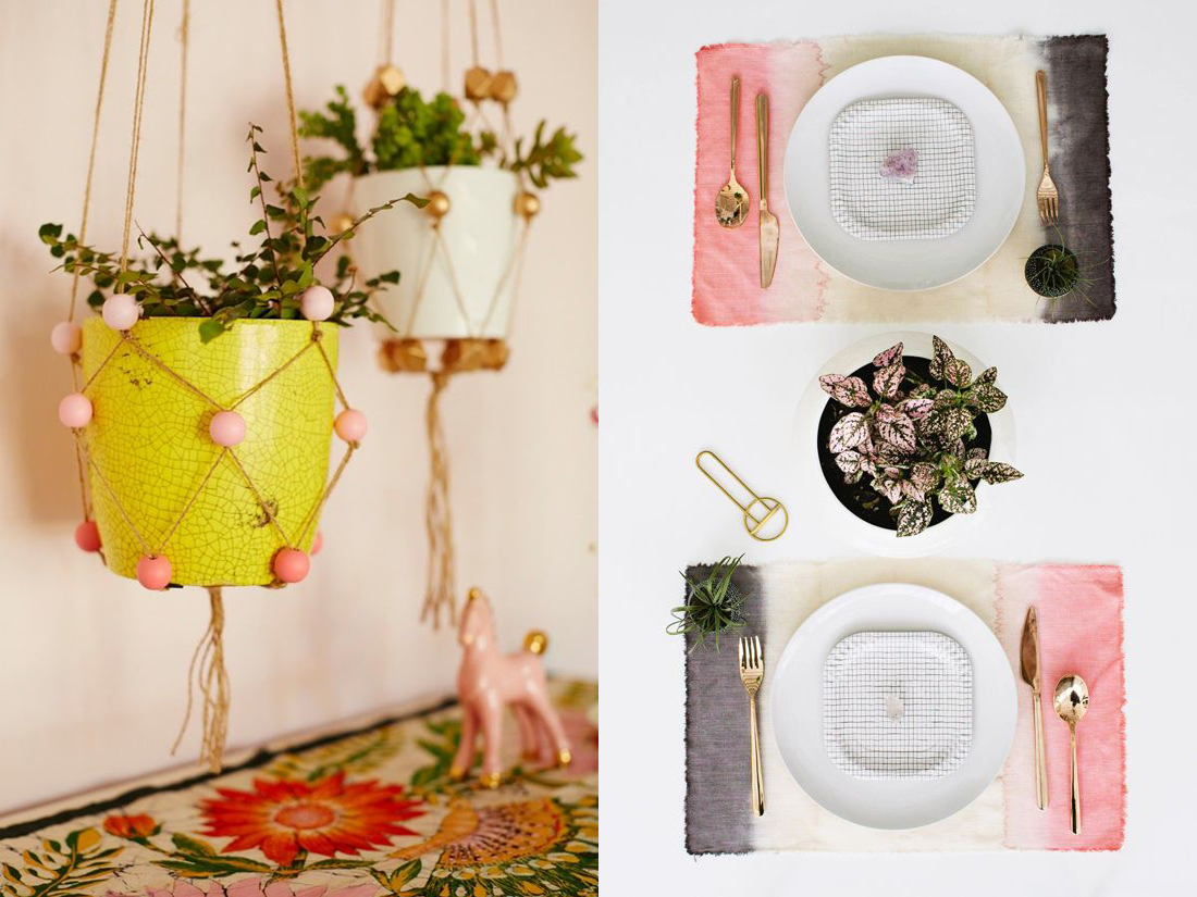 Beaded Plant Holders  // Dip Dye Place Mats