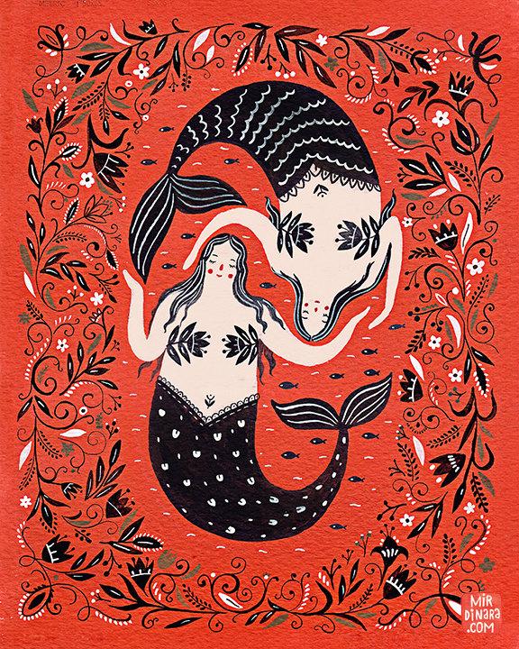 """Mermaids"" art print by Dinara Mirtalipova"