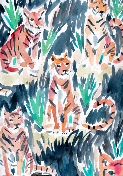 """"""" sitting tigers """""""