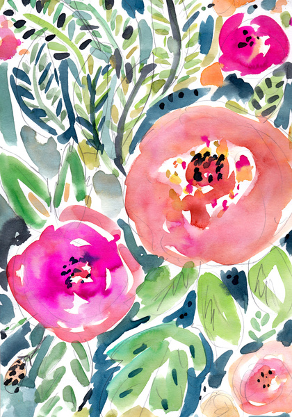 """"""" peach floral """""""