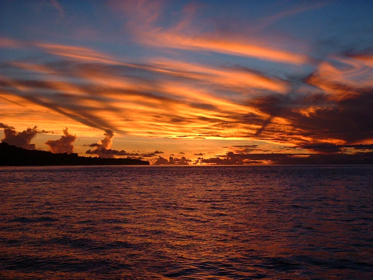 photo: Andy Bruner, shipboard sunset, Solomon Islands, 2002