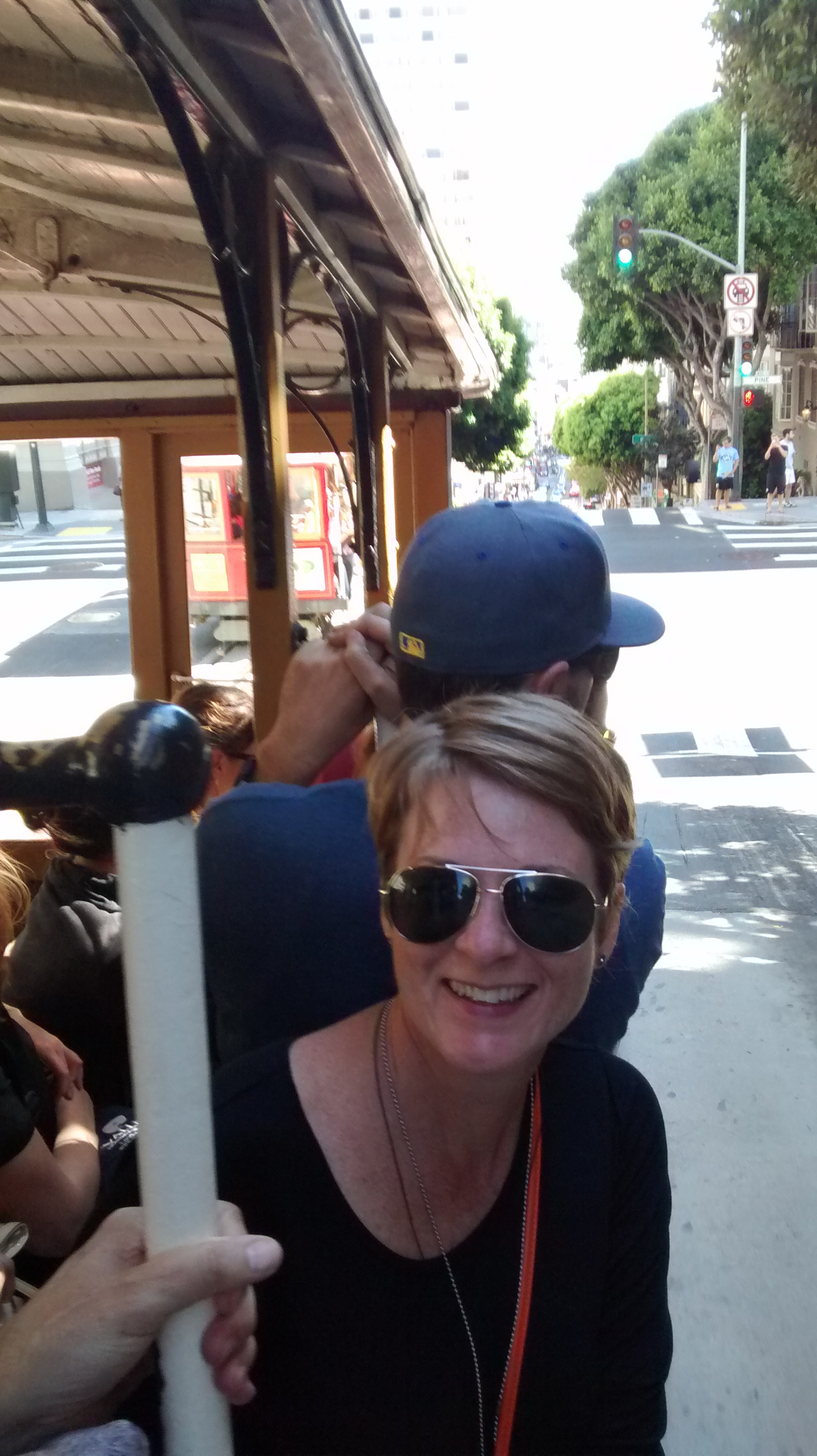 I got to ride on the outside, standing up! I felt so cool-touristy! People waved at me!