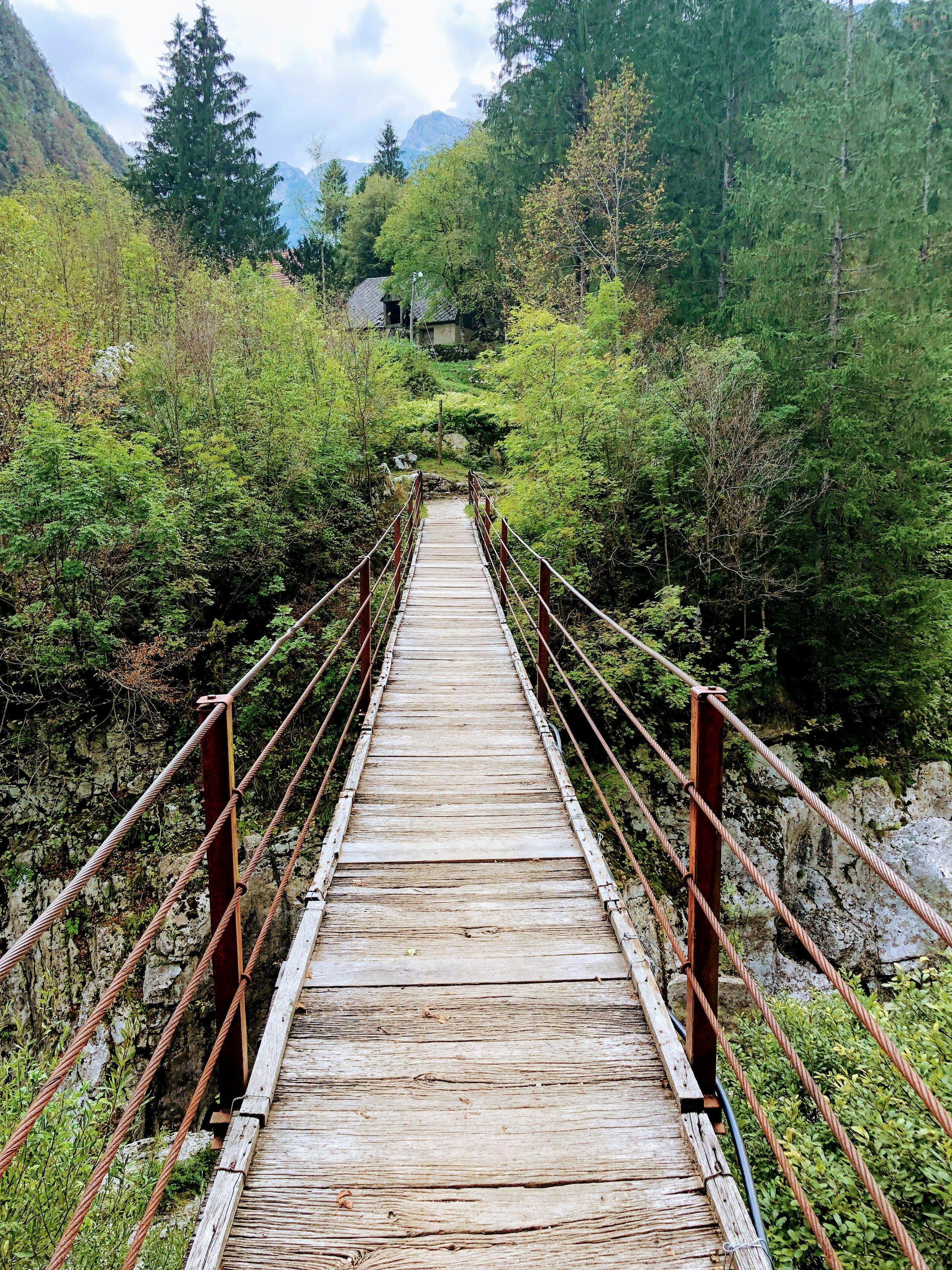 Cable footbridge, Velika Korita Soce, on the Soce River, Slovenia