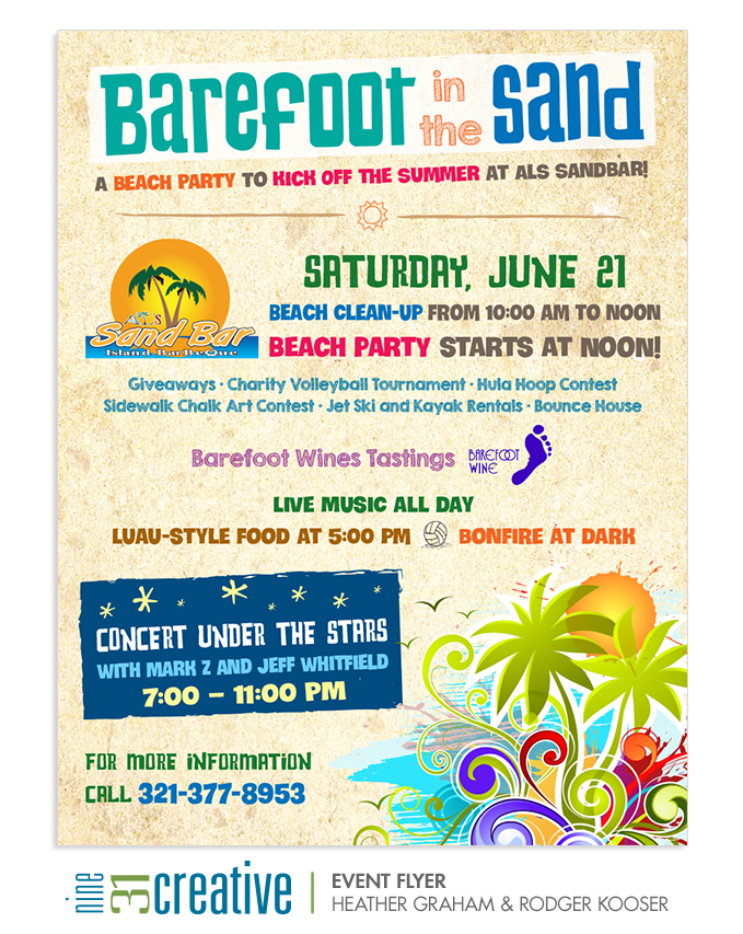 Barefoot in the Sand Event Flyer