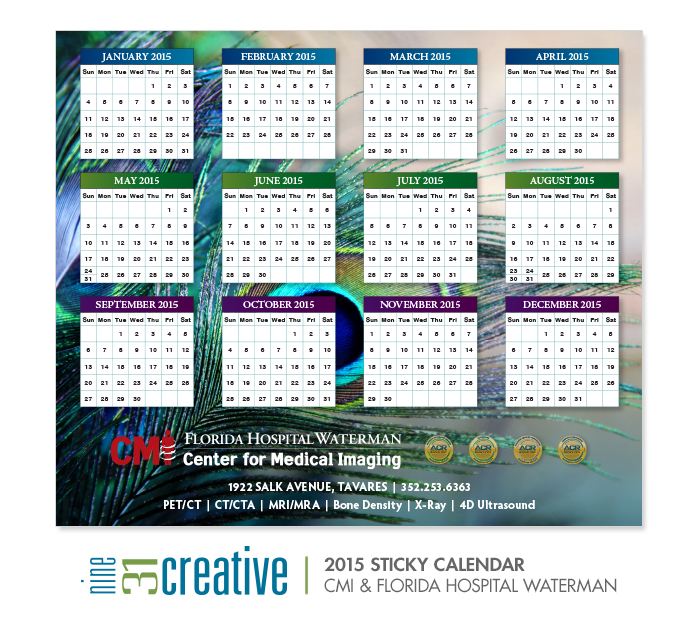 2015 Sticky Calendar - CMI & Florida Hospital Waterman