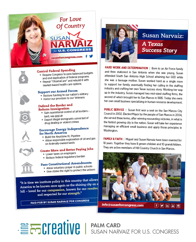 Palm Card - Susan Narvaiz for U.S. Congress