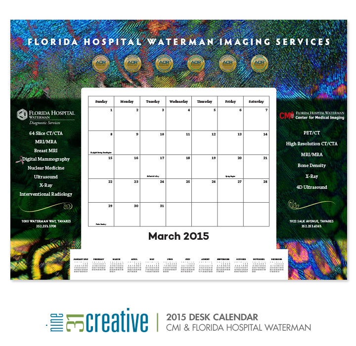 2015 Desk Calendar - CMI and Florida Hospital Waterman