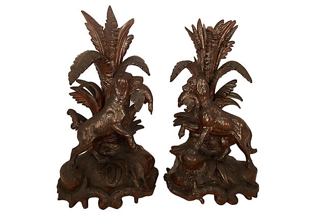 Carved Hunting Dogs with Ducks, Pair.jpg