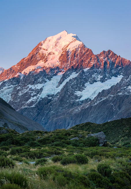 EPIC MOUNT COOK AT SUNSET - PINK AND BLUE ALPINE GLOW
