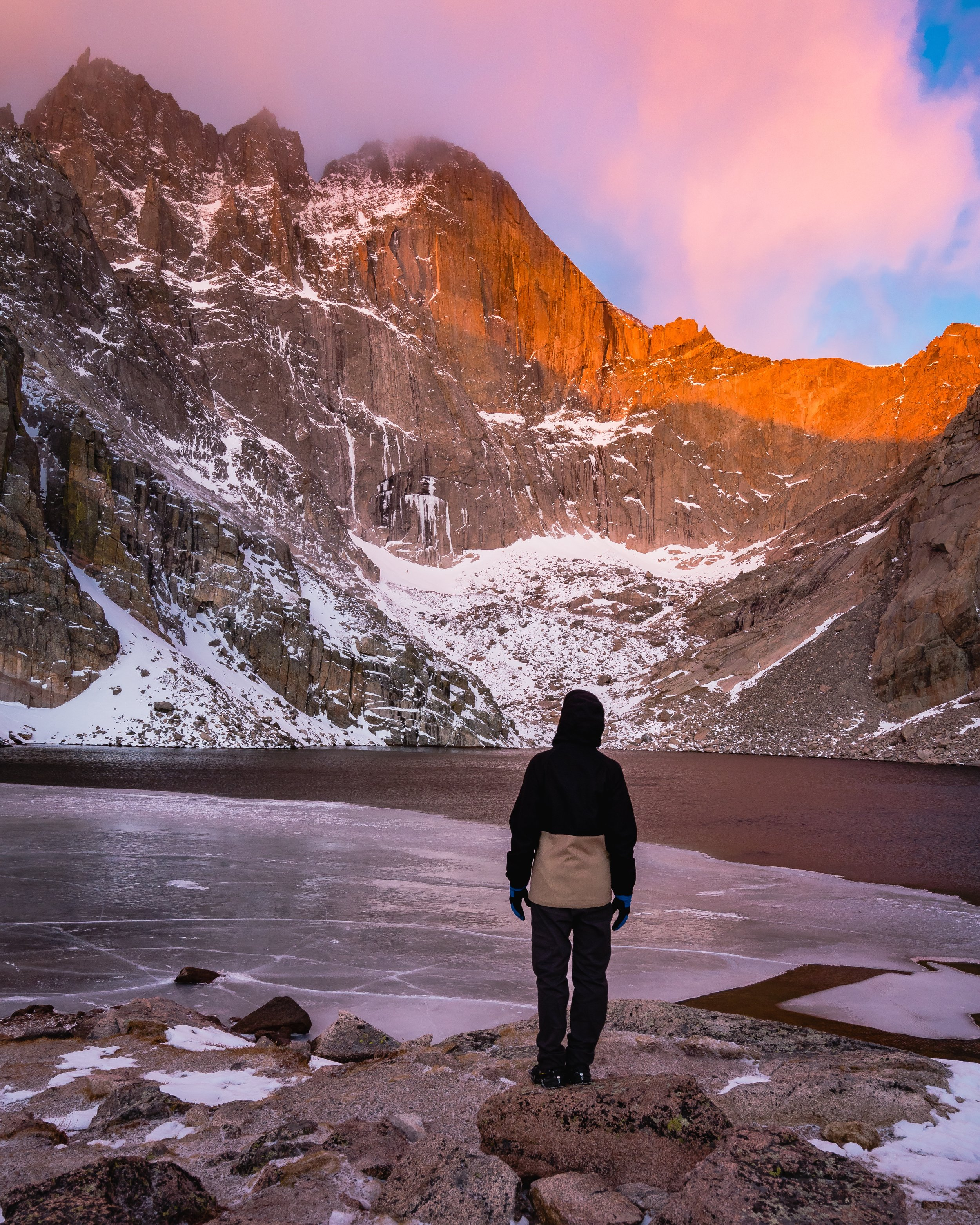 CHASM LAKE, ROCKY MOUNTAIN NATIONAL PARK, ESTES PARK, COLORADO