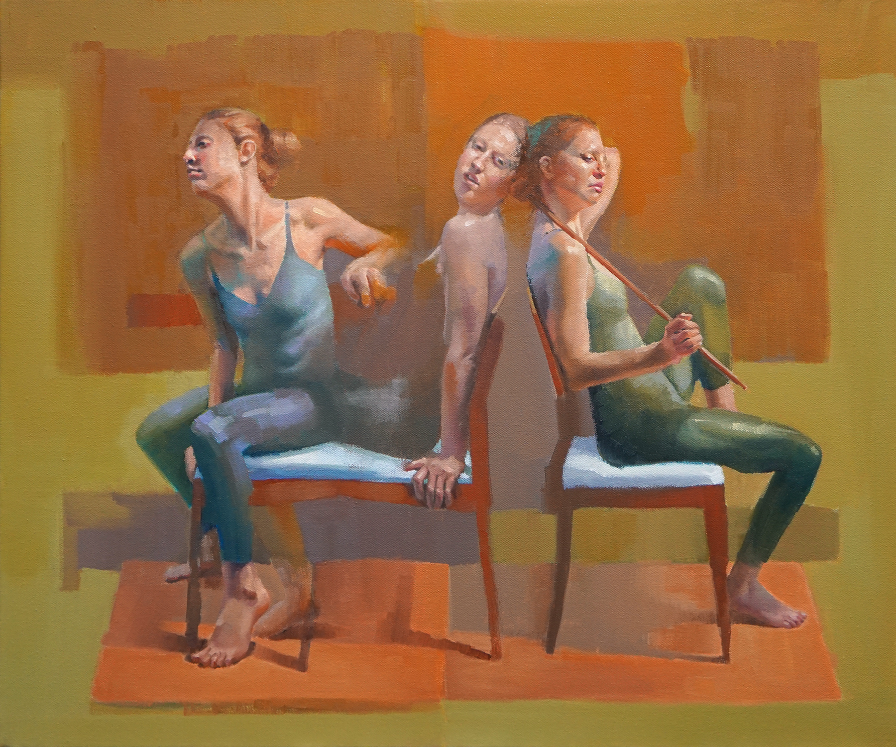 """Trio in Red, 24"""" x 30"""", oil on linen"""