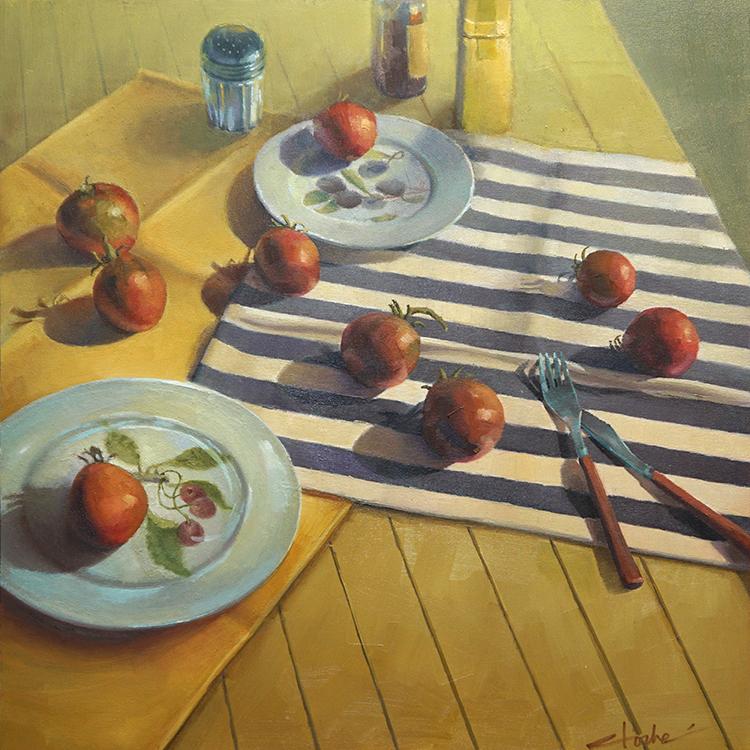 "Summer Tomatoes, 24"" x 24"", oil on panel"