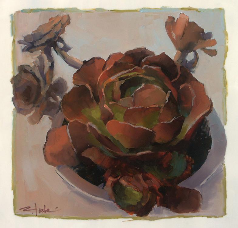 "Cactus Rosettes, 12"" x 12"", oil on mylar"