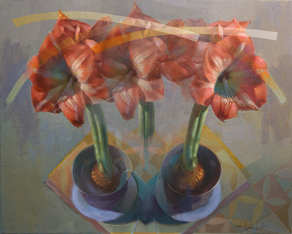 "Amaryllis Duo, 24"" x 36"", oil on canvas"