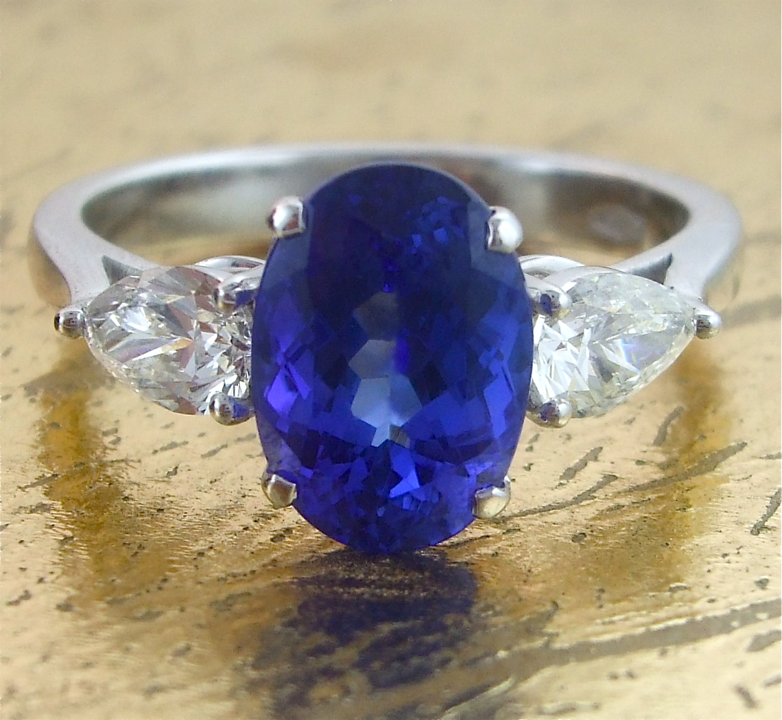 Sapphire Ring with 2 Pear Shaped diamonds - Item No: 0013459