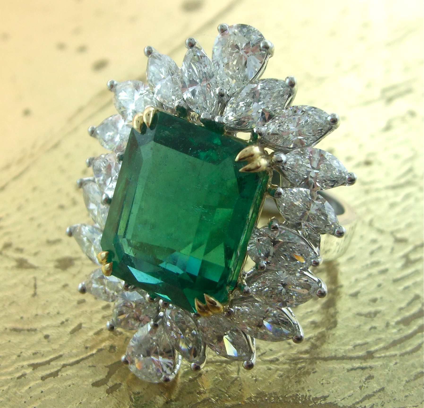 Emerald Ring with Marquise and Pear Shaped Diamonds - Item No: 0013717