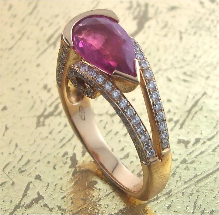 Pink Tourmaline Ring with Round Diamonds - Item No: 0013159