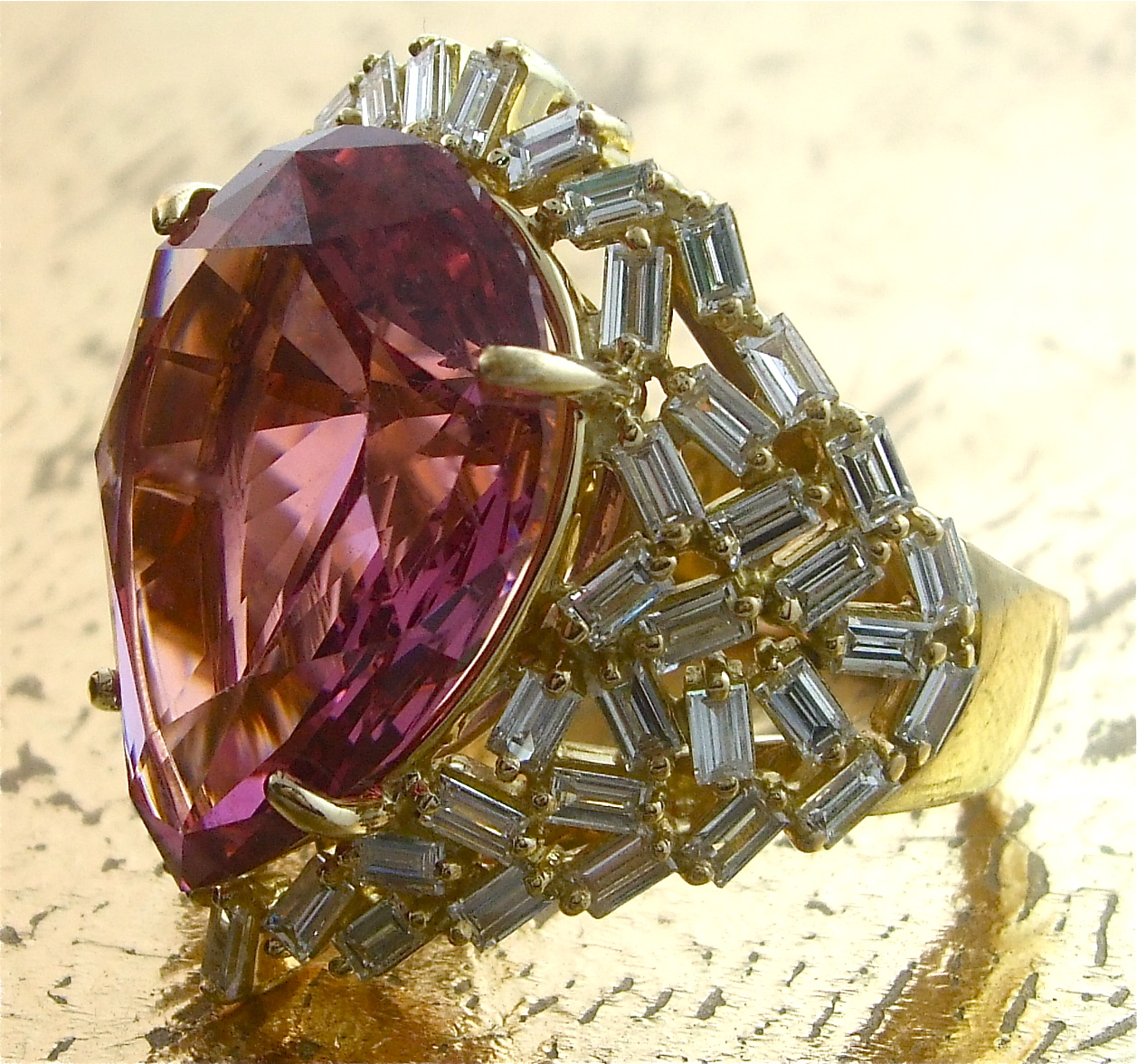 Pink Spinel Ring with Baguette Diamonds - Item No: 0012846