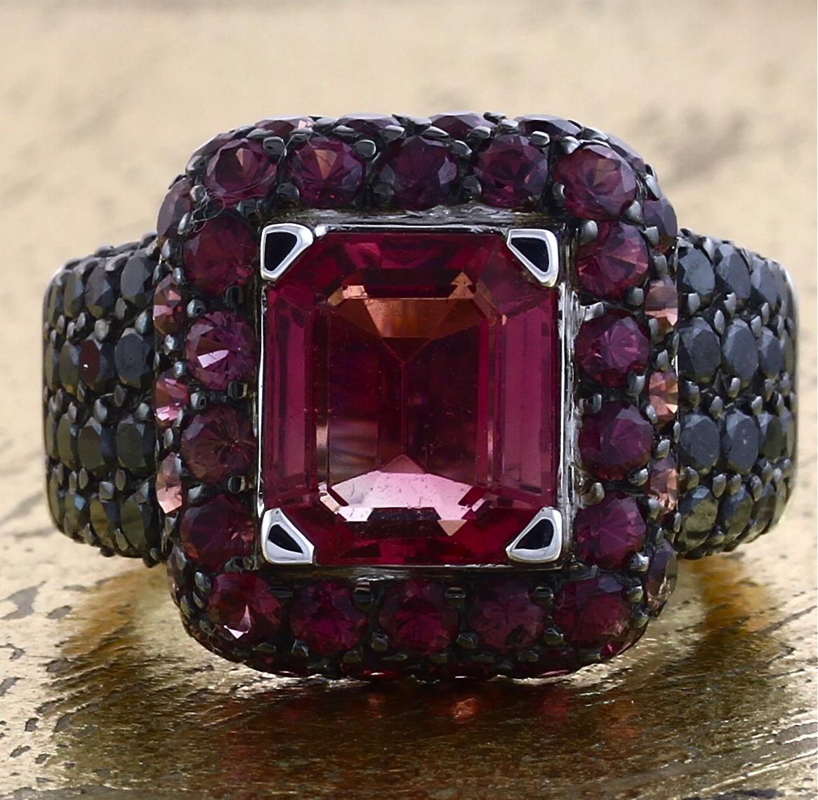 Pink Tourmaline Ring with Black Diamonds - Item No: 0011524