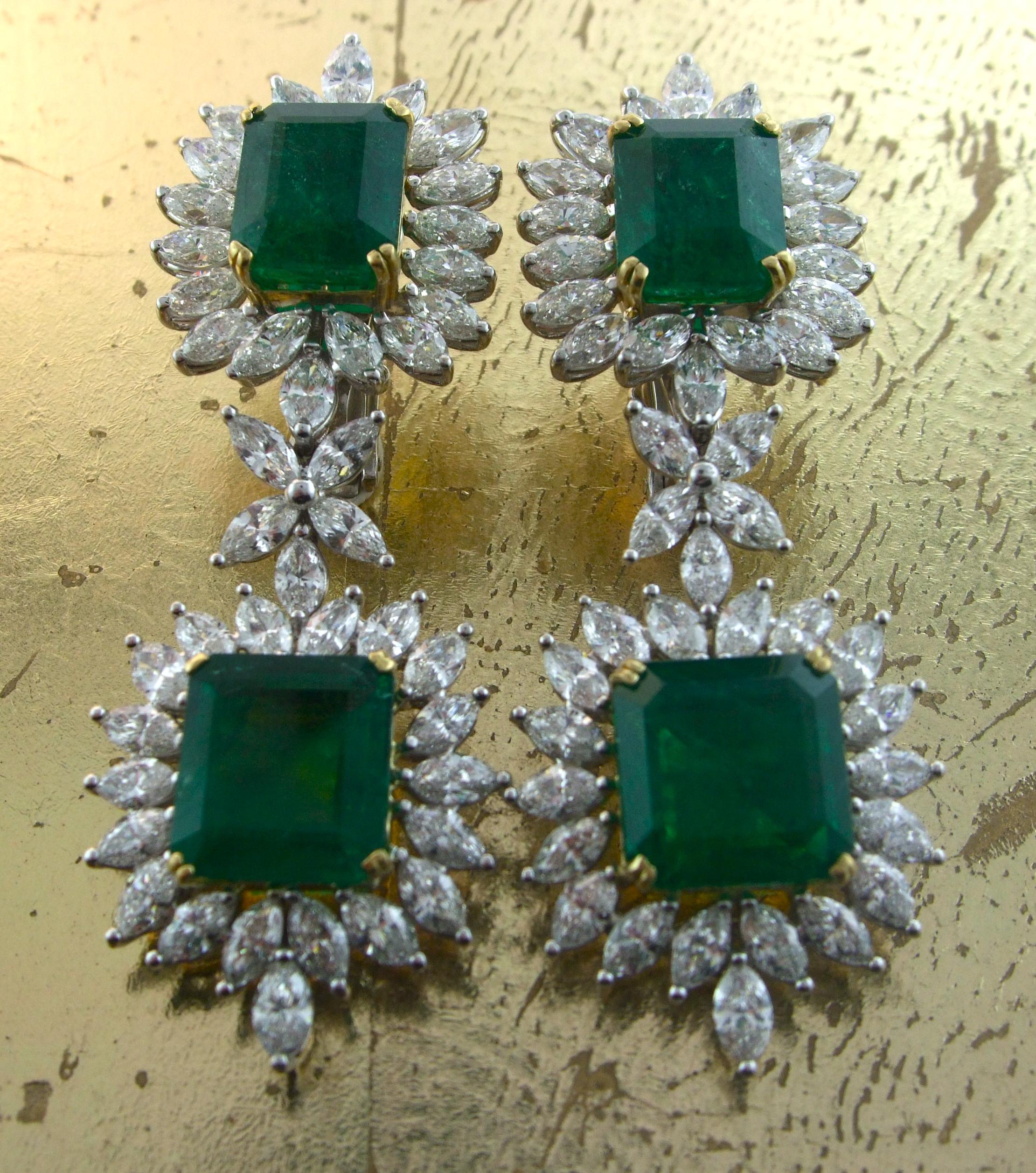 Emerald & Diamond Earrings - Item No: 0013692