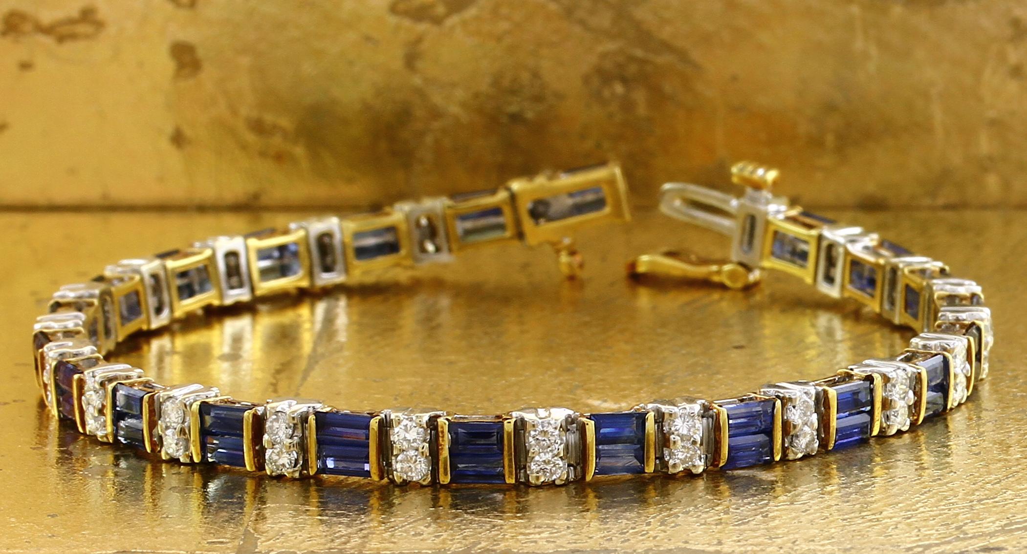 Tennis Bracelet Sapphires & Diamonds - Item No: 0010626
