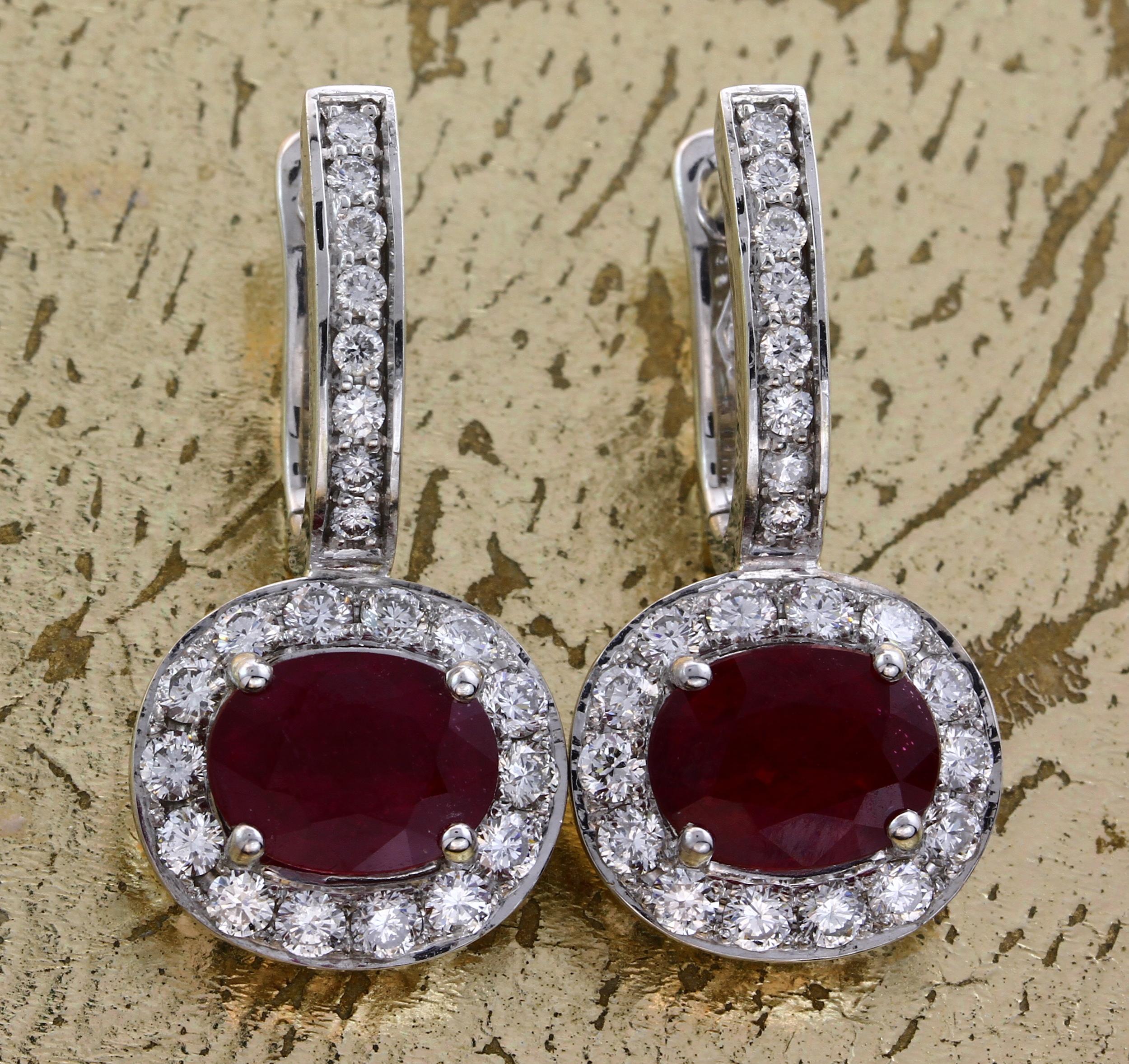 Earrings Oval Rubies with Diamonds Item No: 0013779