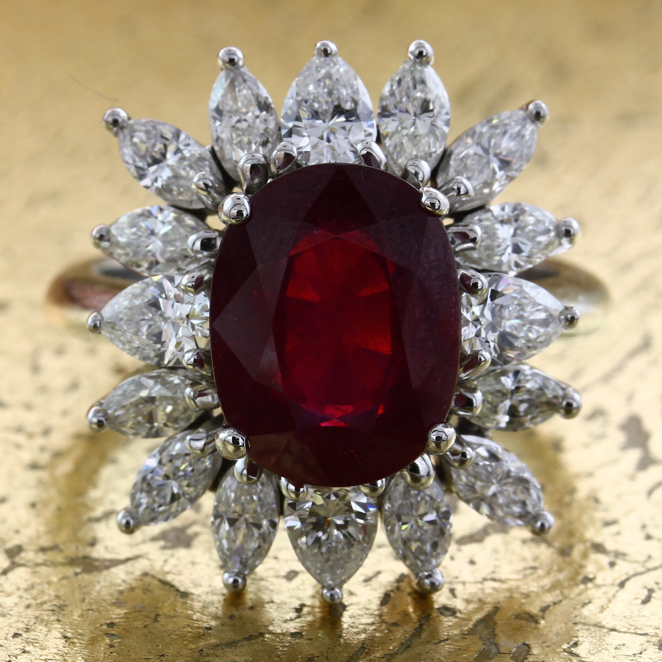 Ruby Ring with Pear and Marquise Diamonds - Item No: 0012184A