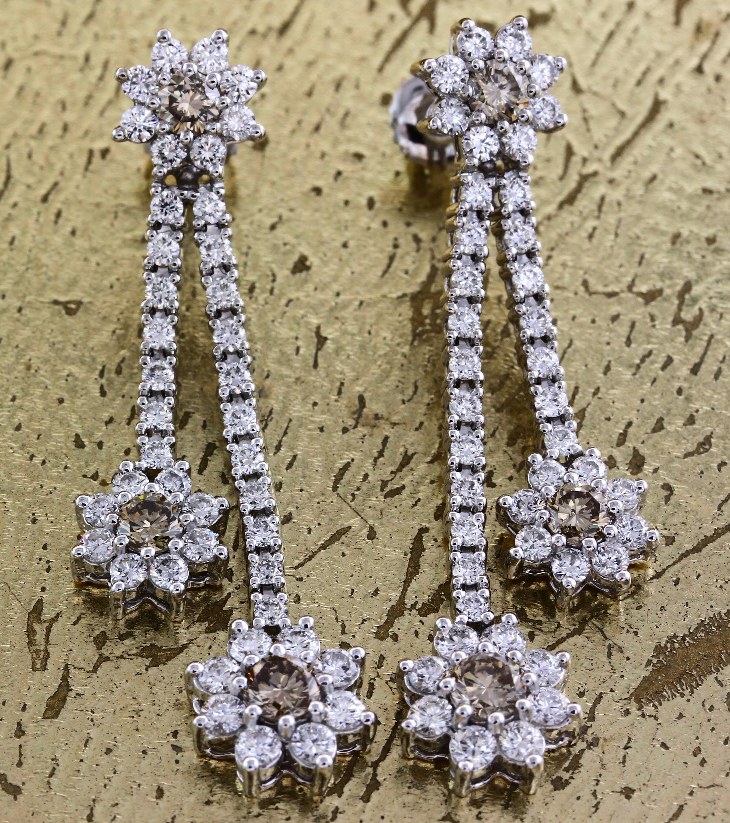 Diamond Earrings with White & Champagne Diamonds - Item No: 0013831