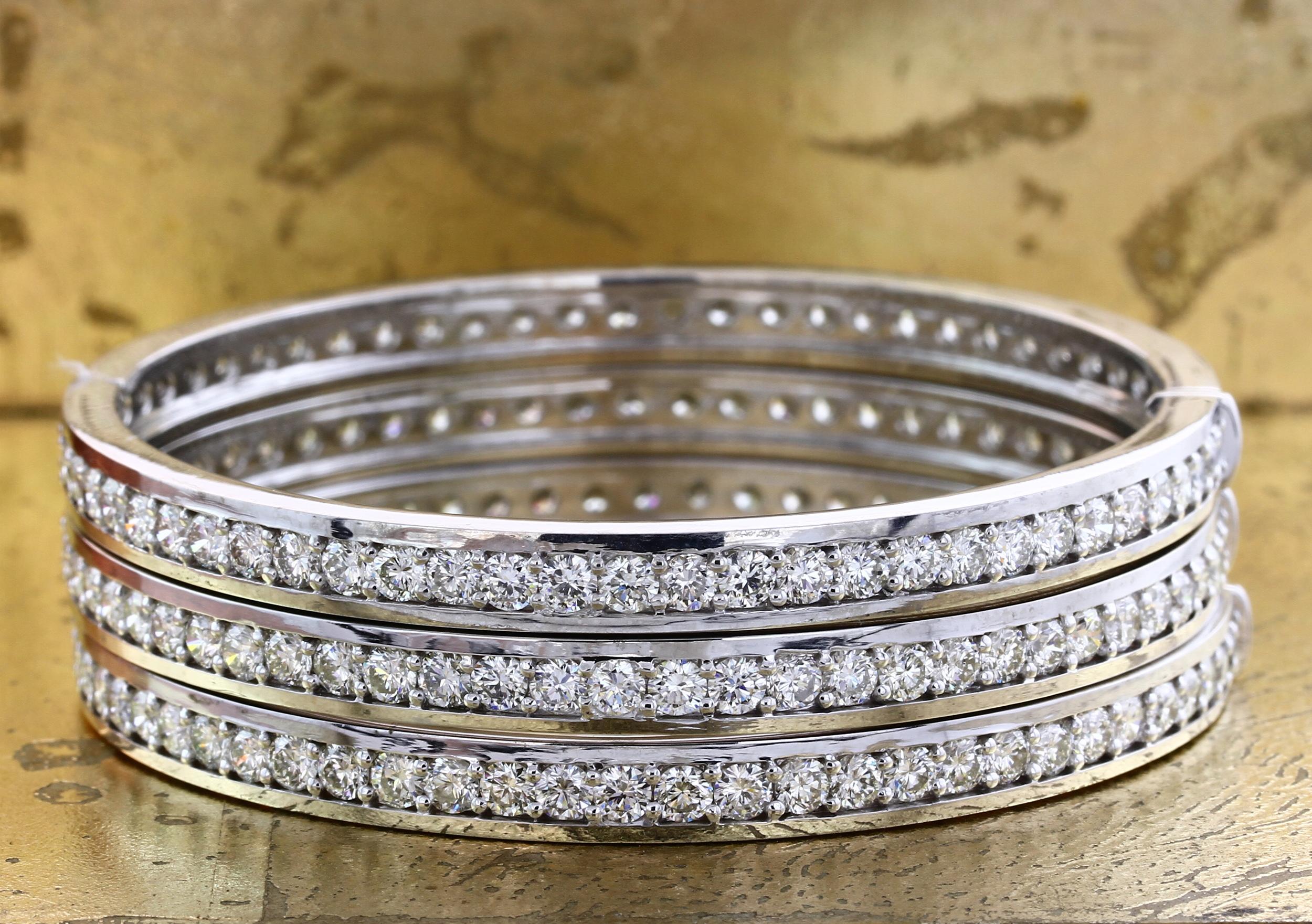 Stackable Diamond Bangles - Item No: 0013815-16-17