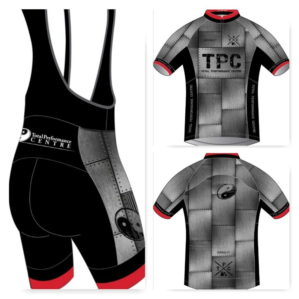 Total Performance Centre Custom Cycling Clothing.   High Quality unique designed clothing that will keep you comfortable on those long days in the saddle.
