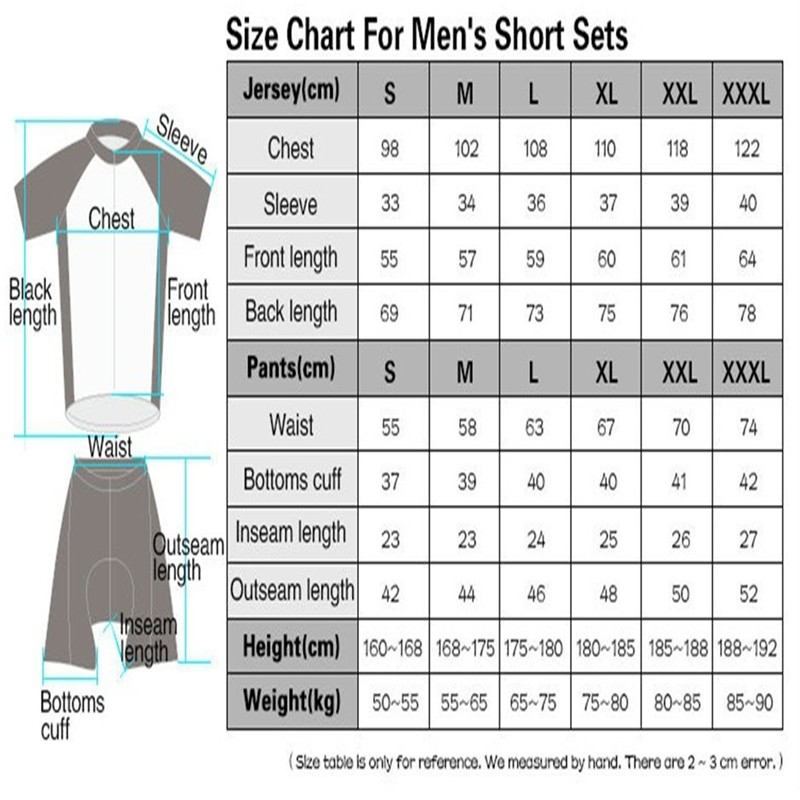 Sizing chart for Total Performance Centre Custom cycling clothing.   Sizing runs similar to most European style clothing.