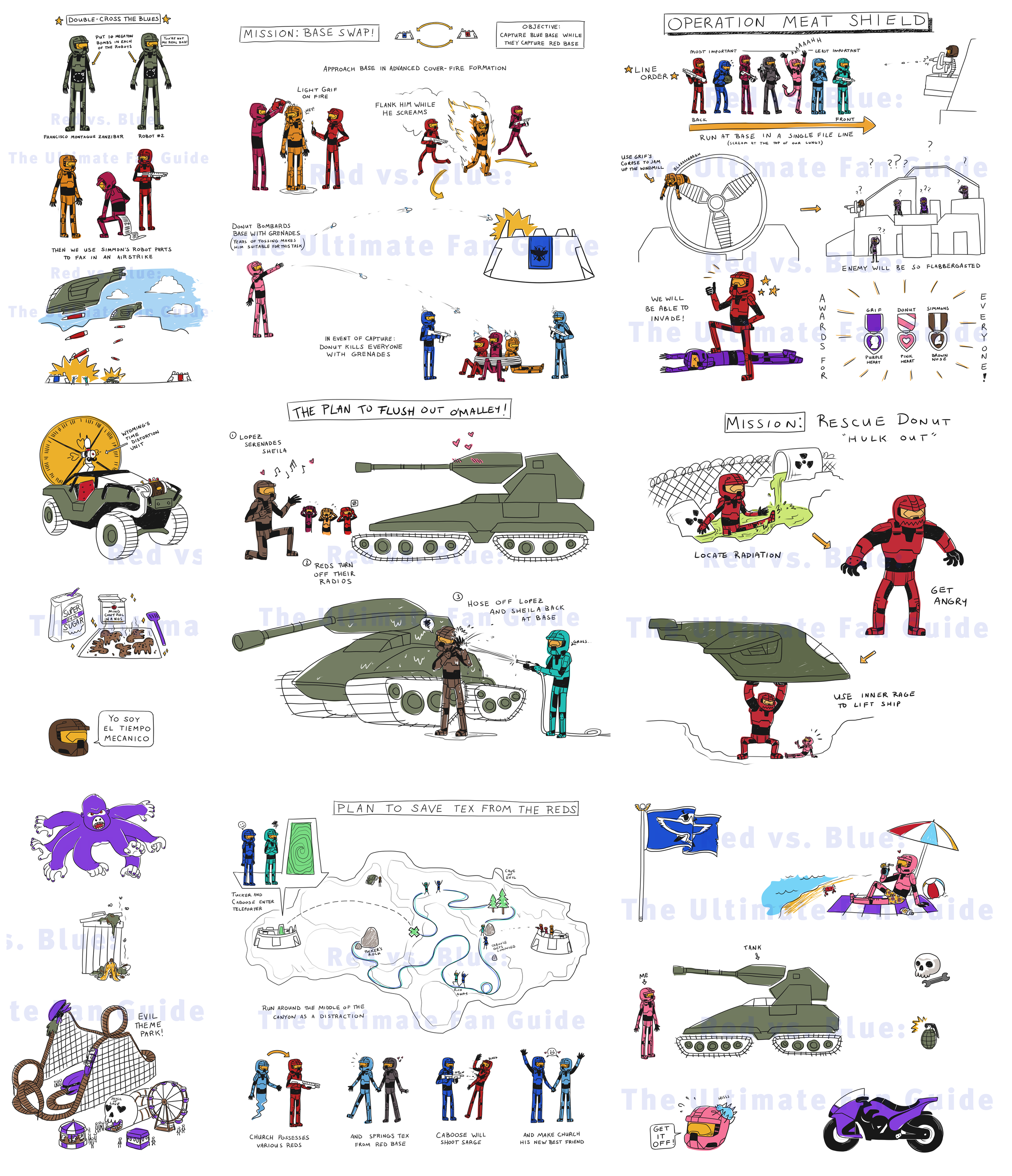 Red vs Blue - The Ultimate Fan Guide Illustrations