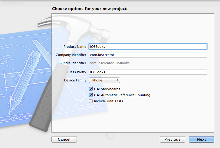 IOSBooks - project options