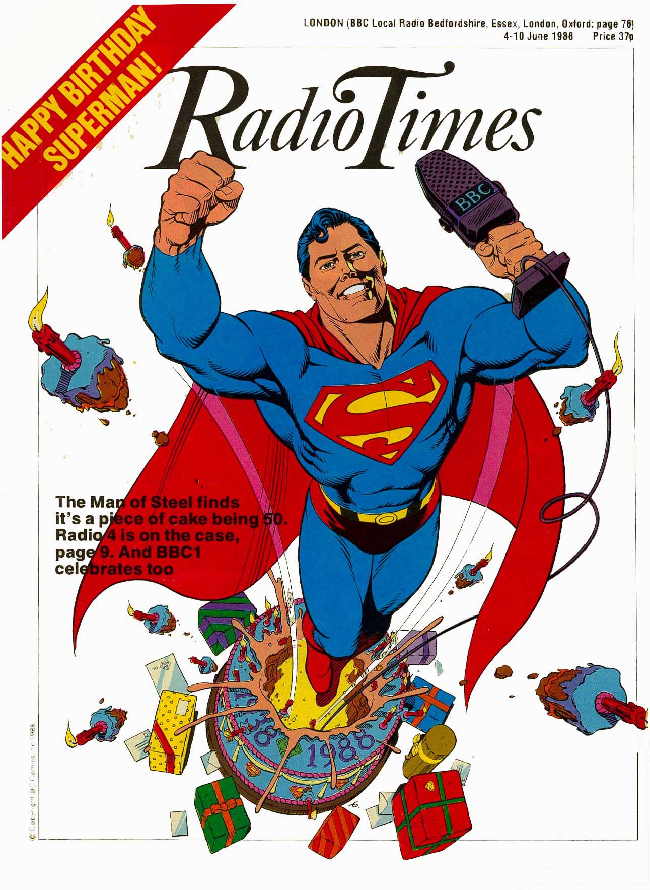 Radio Times cover by dave gibbons celebrating superman's 50th birthday in 1988