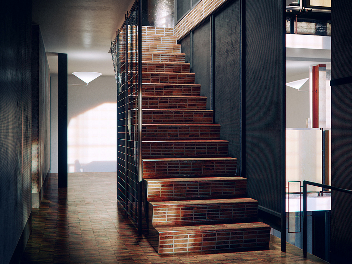 (love this one as I've never seen photos of this stair, the timber floor material is very cool)