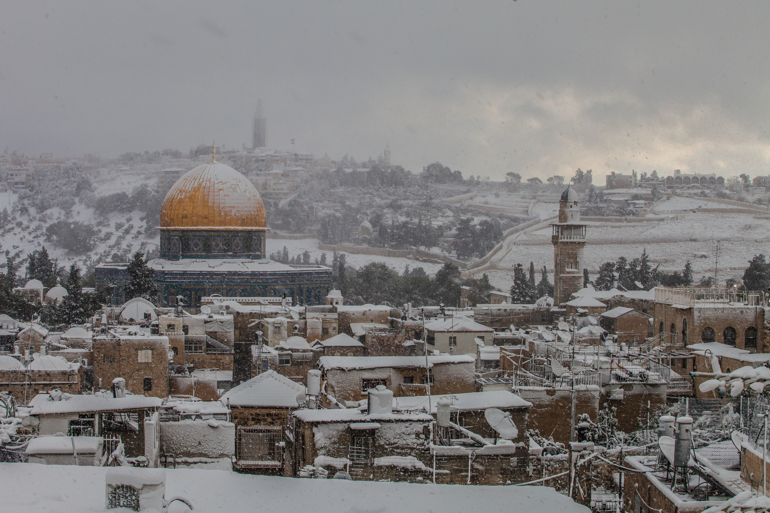 Dome of the Rock in the snow